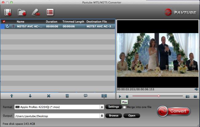Pavtube MTS/M2TS Converter for Mac full screenshot