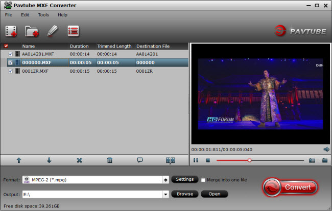 Pavtube MXF Converter full screenshot