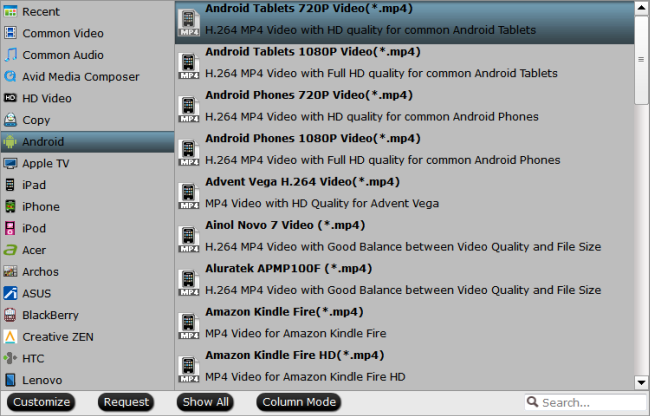 Output Android tablet preset profile format