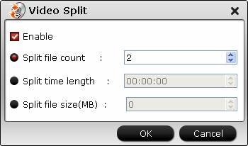 Split video file size