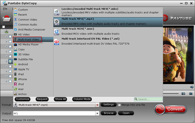choose multitrack output format