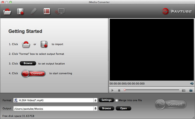 imedia converter mac main ui Playing HEVC on iPad Series