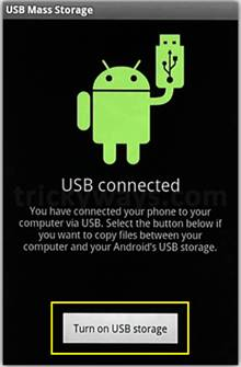 turn on usb storage