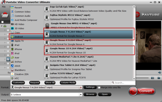 best video format for wi-drive for playback on nexus 7/10