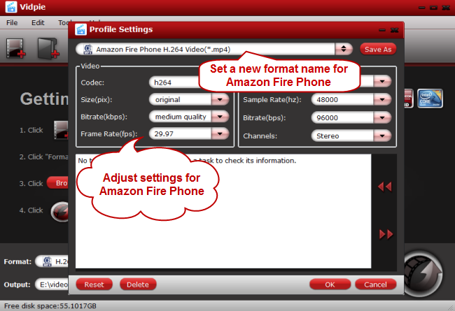 adjust parameters for amazon fire phone