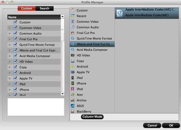 hd video converter mac profile manager