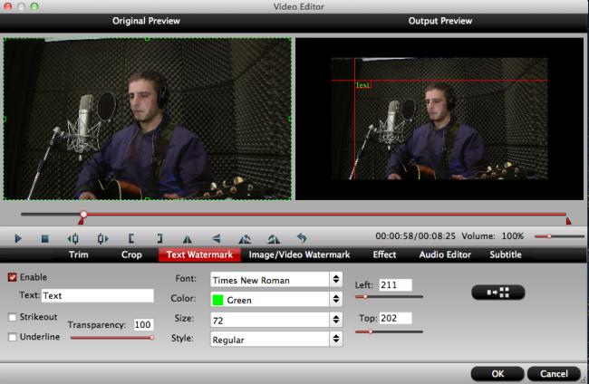 hd video converter mac text watermark