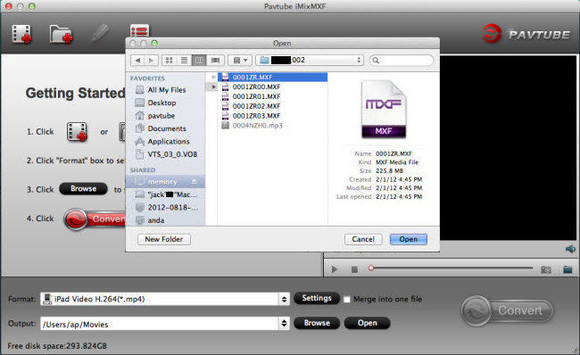 imixmxf import panasonic video