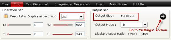 Change output aspect ratio