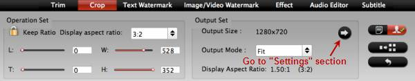 Change output 4K video apsect ratio
