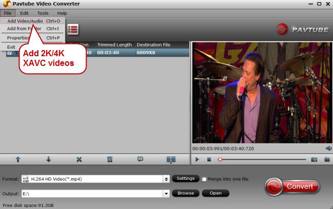 add 2k 4k xavc videos
