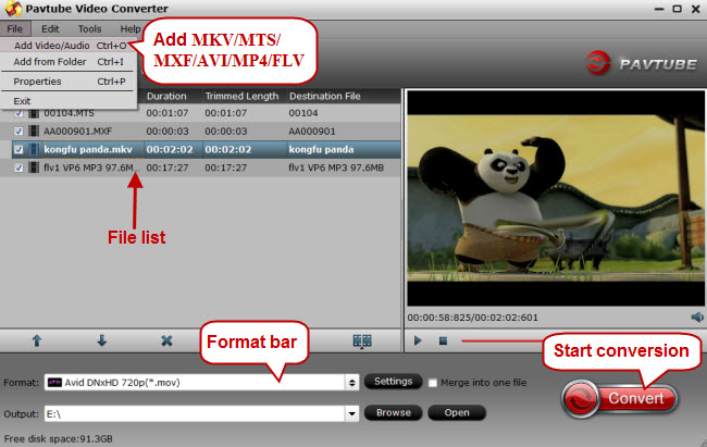 add mkv mxf avi mp4 mts flv to video converter