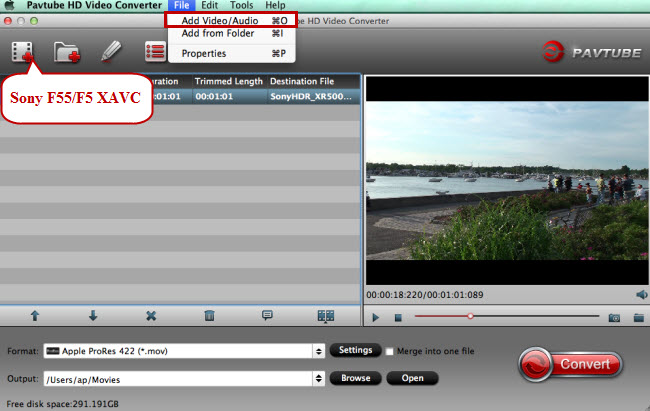 add sony f55 f5 xavc to fcp imovie premiere avid