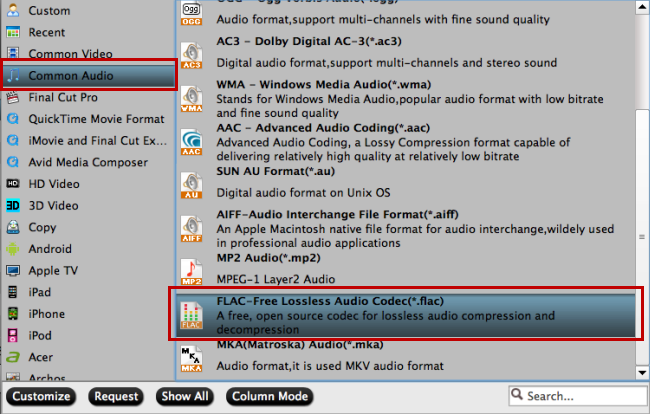 choose lossless flac audio format