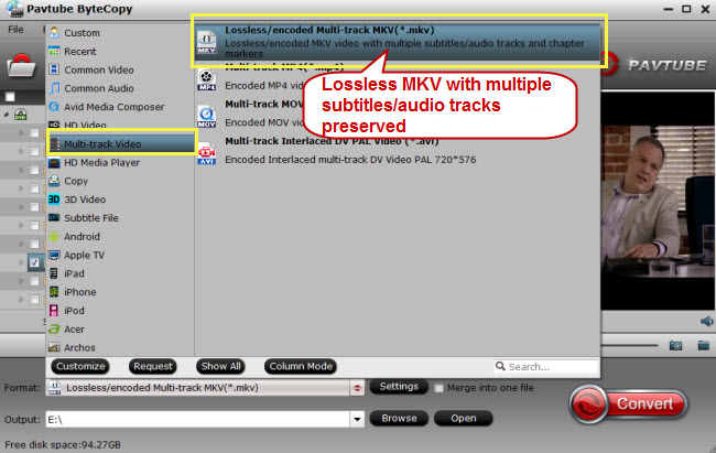 Choose lossless mkv format