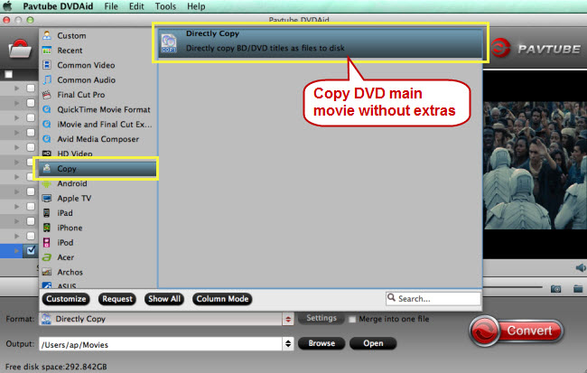 directly copy dvd main movie