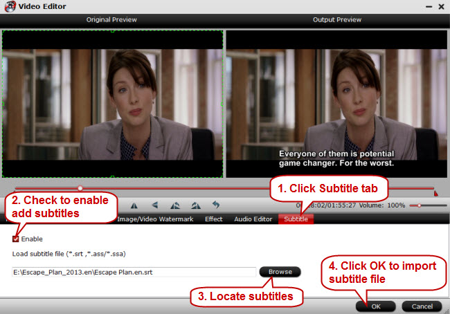 Add and Burn Subtitles to 1080P X264 MKV Video Permanently