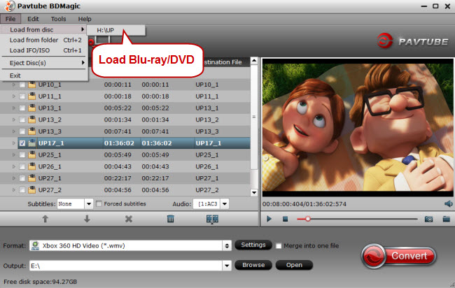 Load Blu-ray/DVD disc