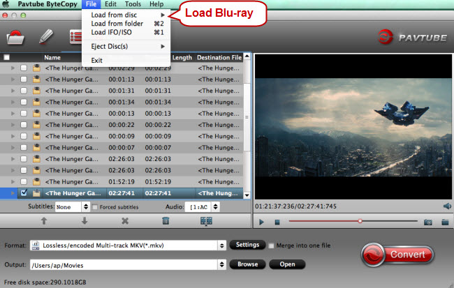 load blu-ray for conversion to lossless mkv
