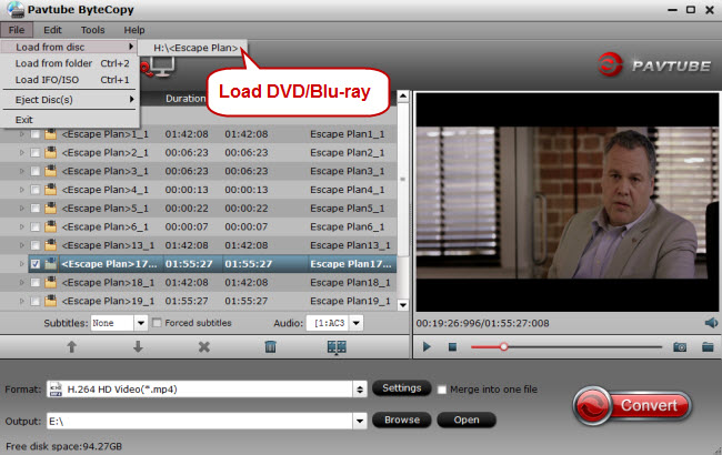 load dvd blu ray for conversion to galaxy note pro 12.2