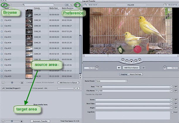 log and transfer window in fcp 6 7
