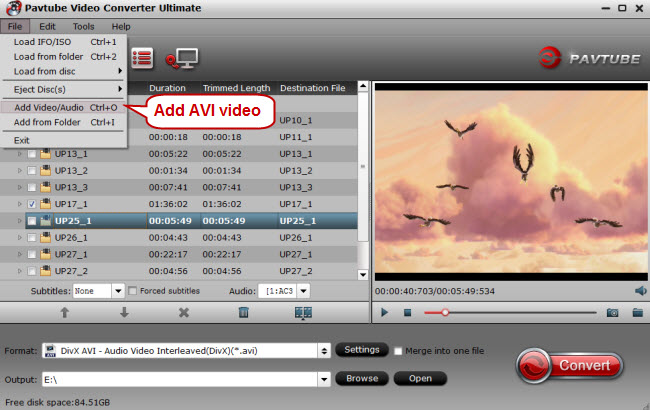 add avi video to video converter