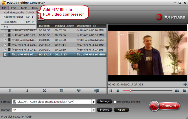 add flv videos to flv video compressor
