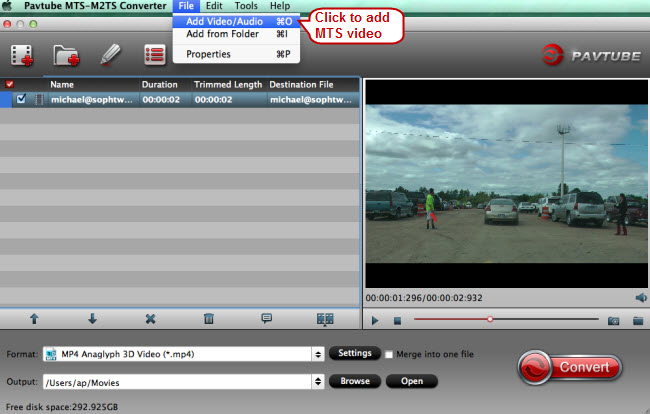 add mts video to mts video converter