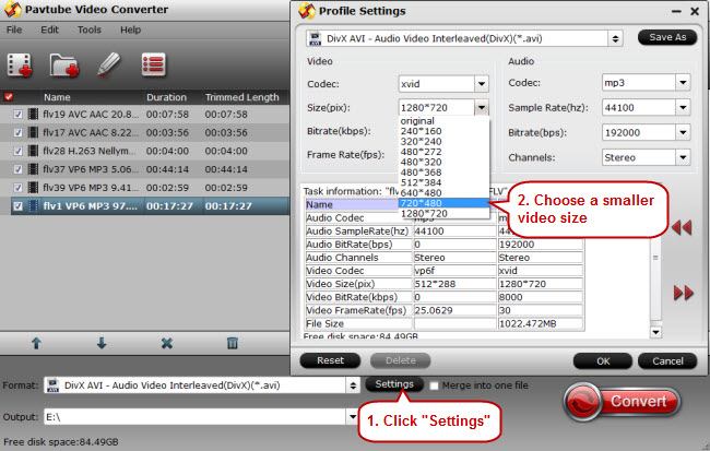 choose a smaller video size for flv videos