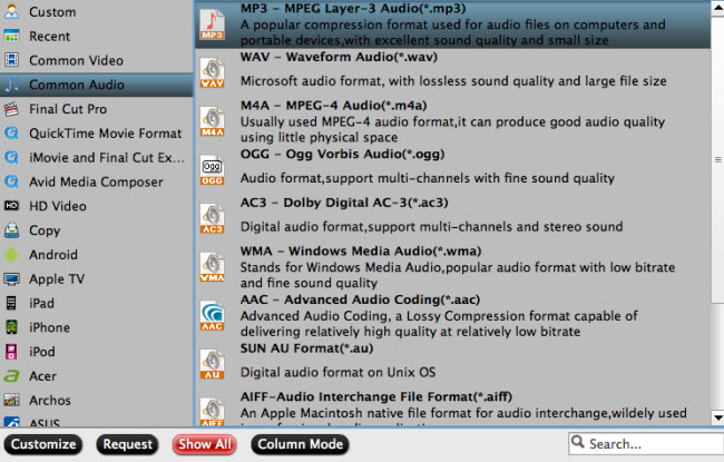 Choose output audio format