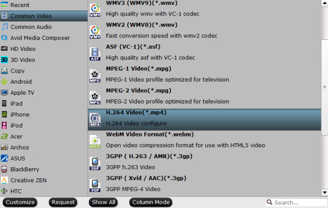 choose mp4 as output format