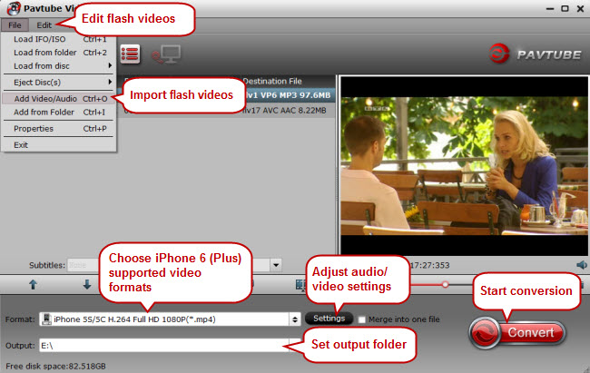 convert flash videos to iphone 6 supported video formats