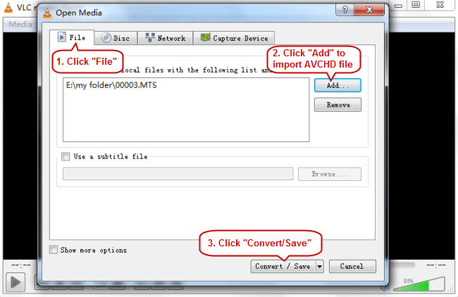 import AVCHD files to VLC player