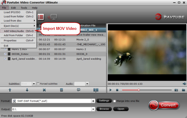 import mov to mov to swf converter