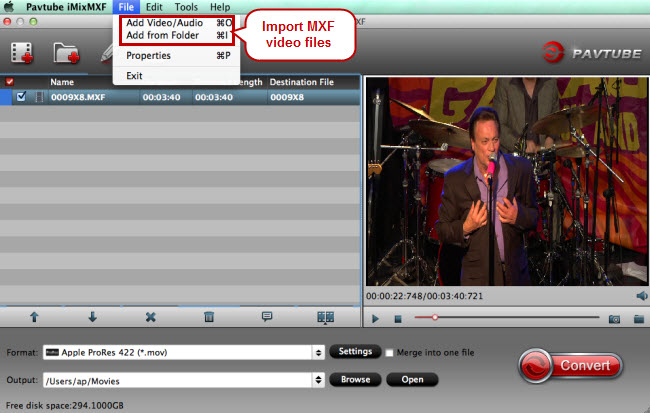 import mxf video files to mxf video converter