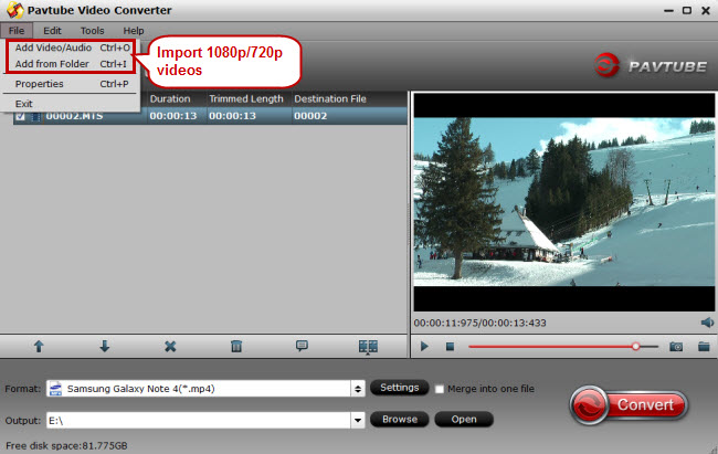 import 1080p 720p hd videos to note edge video converter