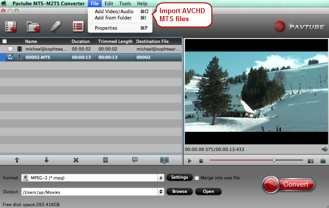 Load canon avchd mts files