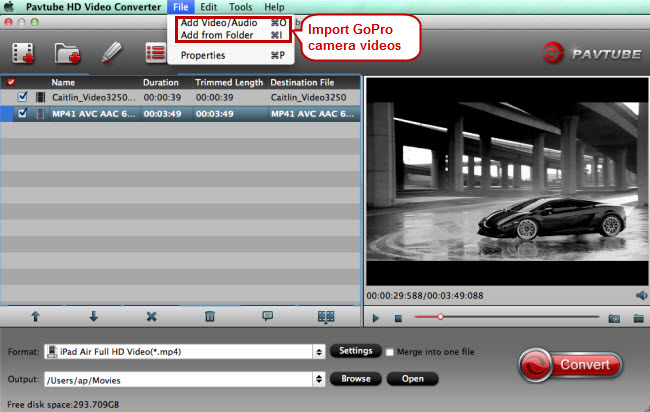 import gopro video