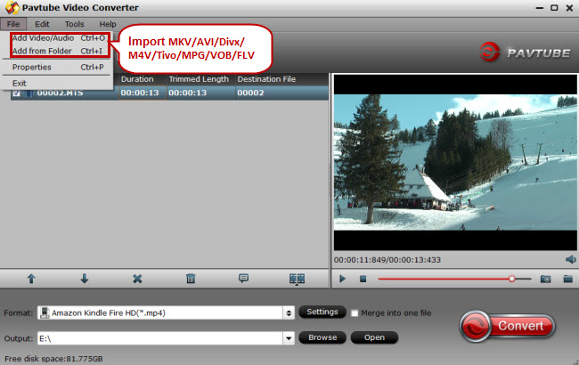 import mkv avi divx m4v tivo mpg vob flv