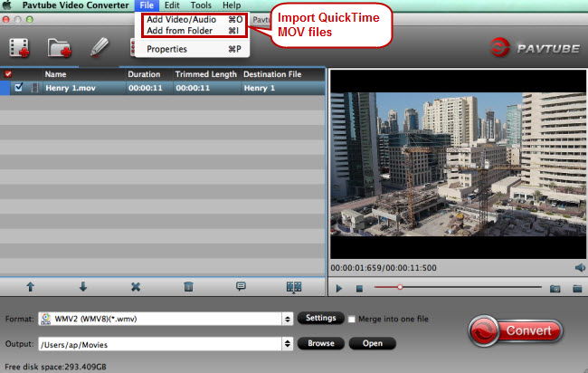 import quicktime mov