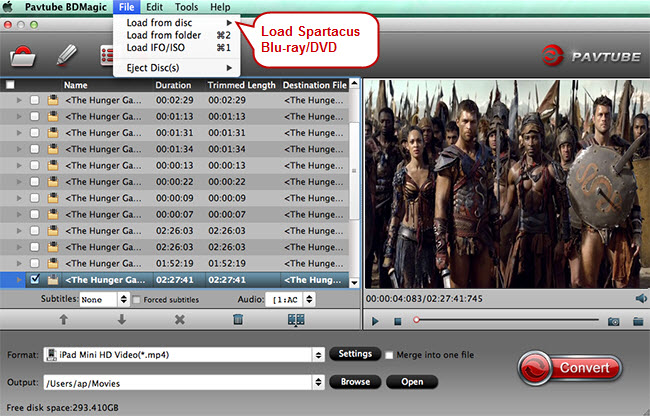 load spartacus dvd blu-ray