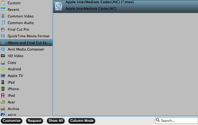 Output iMovie supported editing codec