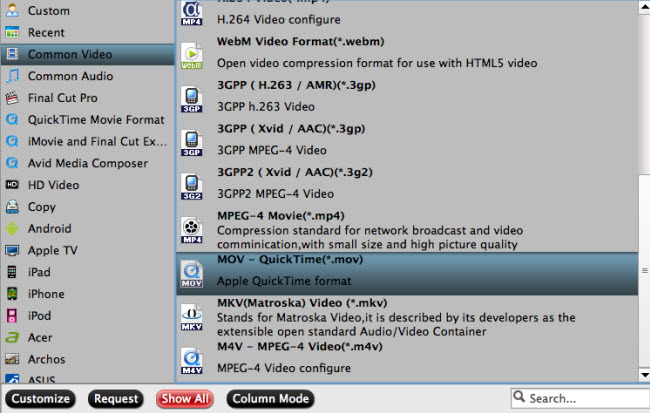 Select to output quicktime mov format