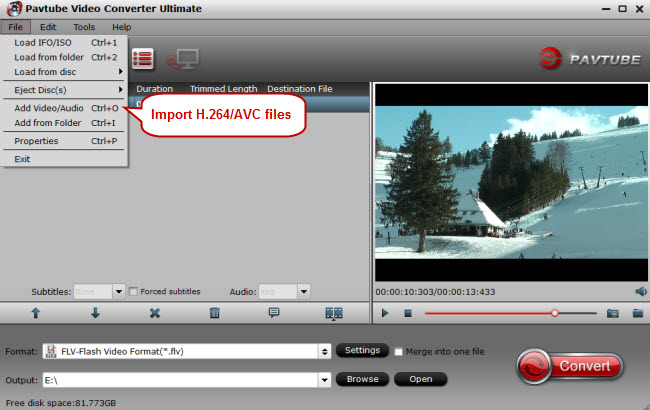 import h.264/avc to video converter