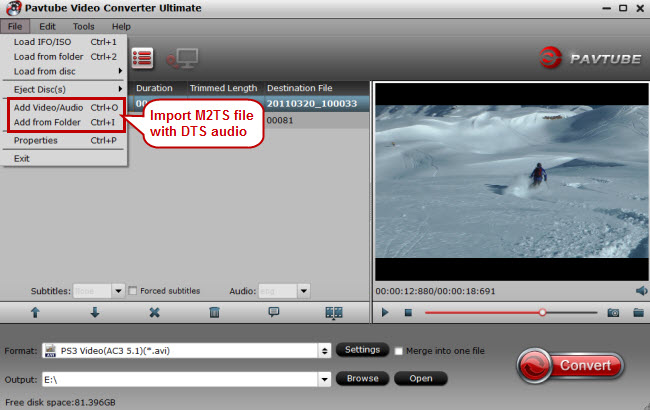 import m2ts file with dts audio