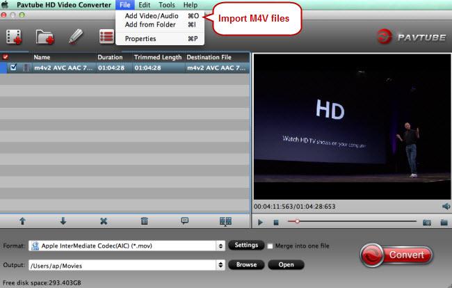 import m4v files
