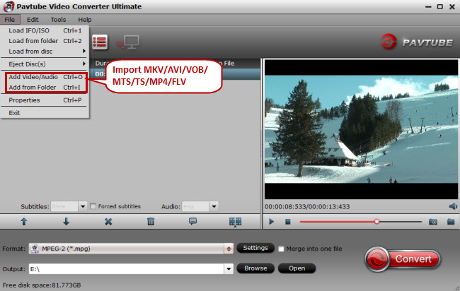 import mkv avi vob mts mp4 flv