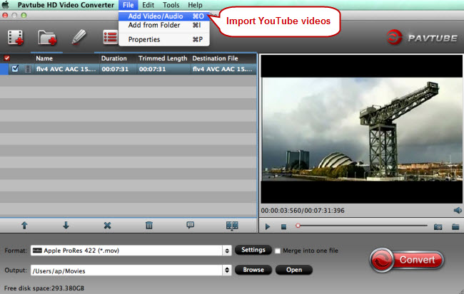 import youtube videos for editing programs
