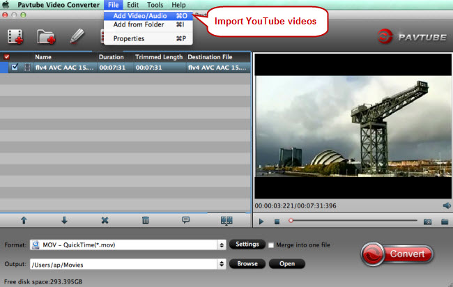 import youtube videos to youtube to mov converter