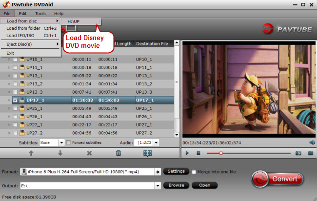 load disney dvd movie for ripping